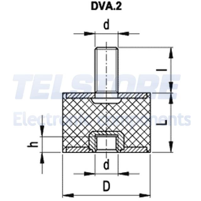 1pcs-Ammortizzatore-silent-block-M4-10mm-gomma-Lungh-10mm-H-4mm-37N-23N-mm-EL miniatuur 2