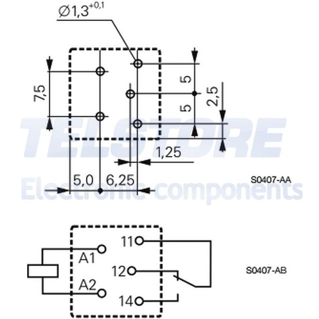 1pcs PB114024 Relè elettromagnetico SPDT Ubobina 24VDC Icontattomax 10A TE Conne