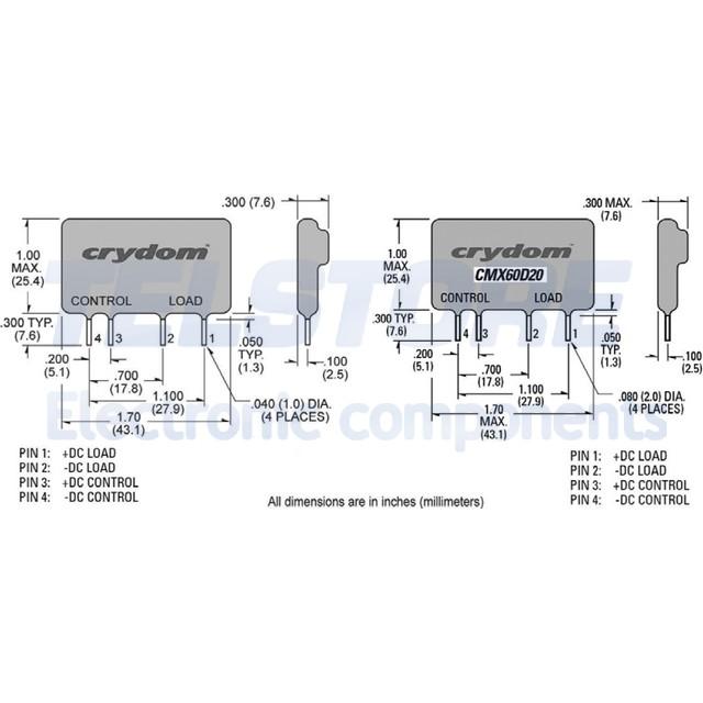 1-pcs-CMXE200D3-Rele-semiconduttore-Ugest-20-28VDC-3A-0-200VDC-THT-SIP-CRYDOM