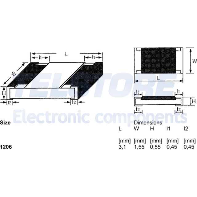 55÷125°C R 100pcs SMD1206-1K8 Resistenza thick film SMD 1206 1,8k ohm 0,25W ±5/%