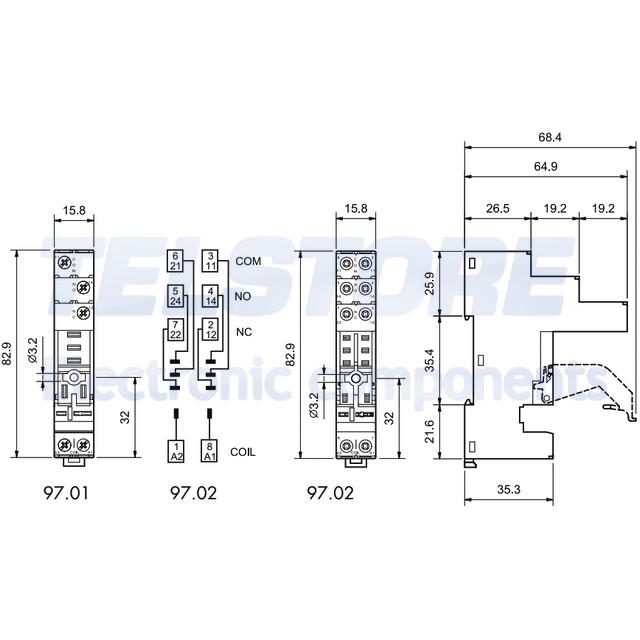 1-pcs-97-02-Support-PIN-8-8A-250VAC-Montage-DIN-Prises-bornes-a-vis-FINDER