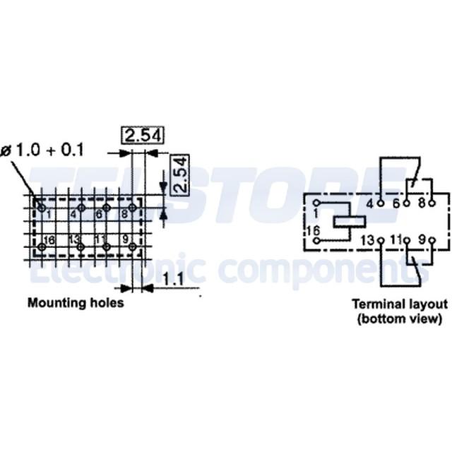 1pcs V23105A5477A201 Relè elettromagnetico DPDT Ubobina 24VDC 0,5A//125VAC 3A TE