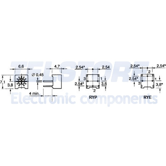 2-pcs-T73RYE10K-Trimmer-mono-giro-orizzontale-10k-ohm-500mW-VISHAY