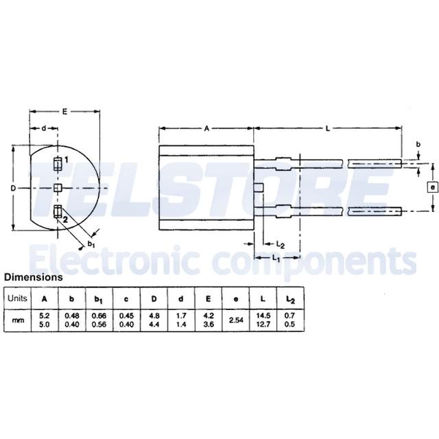 1pcs KTY81-210 Sensore di temperatura 0÷150°C SOD70 THT 1,98k ohm TELSTORE